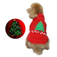 Wholesale led small christmas tree - 4 Size New Arrival Autumn Winter Pets LED Flashing Hoodie Christmas Tree Pattern Small Dog Coat Red 20pcs lot