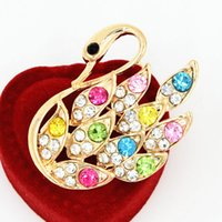 Wholesale Tibet Clothes - Gold Tone Colorful Crystals Swan Brooch Lovely Women Jewelry Pins Scarf Brooch Pins Hot Selling Wedding Bridal Bouquet Clothes Jewelry pins