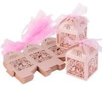 ingrosso diamanti rosa di plastica-50pcs Hollow Bird Style Bomboniera Bomboniere Scatole regalo con nastri (rosa)