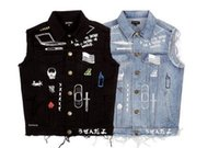 Wholesale Mens Black Denim Jean Jacket - Hot Sales streetwear harajuku swag korean fashion clothing jackets hip hop mens clothes club wear coat blue black jean denim jacket men