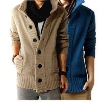 Wholesale mens warm cardigan resale online - Winter New Men s Fashion Thick Cardigan Mens Cardigans Knitwear Sweaters Warm Fleece Hoodie sweatshirt Casual Hoodies