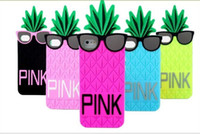 Wholesale Novelty Glasses Case - Fashion Novelty Cute 3D Glasses Pineapple Design Soft Silicone Back Cover Case for iPhone 5 5s SE 6 6s w Screen Protector + Pen