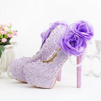 güzel gelincikler topuklu toptan satış-Romantik Mor Süper Yüksek Topuk Düğün Ayakkabı Güzel Dantel El Yapımı Gelin Aplikler Nedime Ayakkabı ile Elbise Ayakkabı