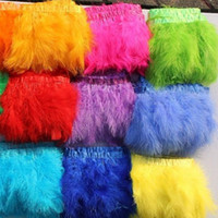 yards kostüm trimmen großhandel-2 Yards / pcs Gold Marabou-Feder, die viele Farbe-Feder-Fransen Marabou-Federn-Band-Ordnungs-Fransen-Kostüme-Party-Ereignis Supplie trimmt