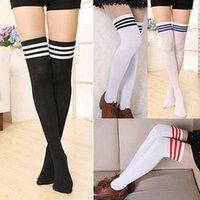siyah beyaz diz yüksek çorap toptan satış-Siyah Beyaz Womens Kış Yumuşak Kablo Örgü Diz Üzerinde Uzun Çizme Uyluk-Yüksek Sıcak çizgili Çorap Uzun Stpckings