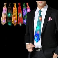Wholesale sequin neck ties - LED Light Up Tie Necktie LED Mens Party Lights Sequins Flashing Necktie Glow in the Dark for party night clubs KKA2488