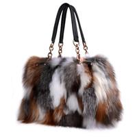 Wholesale Genuine Fox Fur Bag - Fox Fur Handbags Fashion Women Winter Luxury Bag Genuine Leather Shoulder Bags Bolsa Feminine Messenger Bags