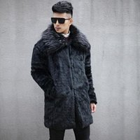 Wholesale fake mink coats - Clobee Men faux fur Coats 2017 plus size S-6XL men's winter thicken fur jacket flurry fake mink fur long-sleeved warm coats M777