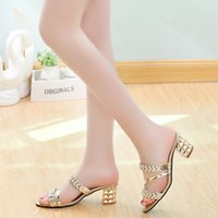 Wholesale Chunky Sandals Girls - 2016 summer new Girls with thick with open-toed high-heeled slippers thin diamond ladies sandals and slippers