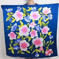 2016 NOVO Flower Design Moda Mulheres Big Square Shawl, 100% Mulberry Silk Satin Lady Scarf, Blue Women's Printed China Scarves, 110 * 110CM