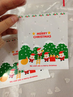 Wholesale Christmas Cookies Designs - White 200pcs Christmas Santa Claus designs Self Adhesive Seal Snack bags Lovely Biscuits Bread Cookie Gift Bag 10x11+4cm envelope