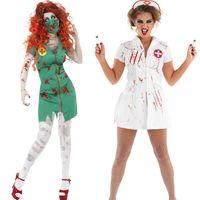 Wholesale New Style Nurse Uniform - 2016 New Style Adult Women Sexy Scary Mummy Costume Exotic Bloodstain Nurse Uniform Fantasia Vampire Devil Halloween Cosplay
