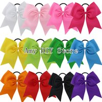 Wholesale Cheerleading Wholesalers - Free Shipping 24pcs lot 7.5'' Large Solid Cheerleading Hair Bows Grosgrain Ribbon Cheer Bows Tie With Elastic Band For Baby Girl HJ071+XP