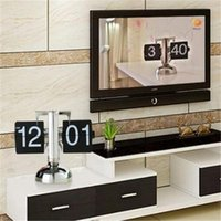 Wholesale Modern Retro Flip Clock - Creative Black Auto Flip Stand Metal Desk Table Clip Clock Retro Scale Digital Projection Clock Quartz Home Office Decoration