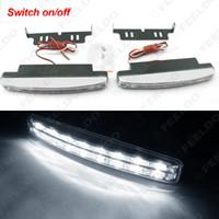 Wholesale Drl Led Euro - LEEWA White Automatic Switch ON OFF Fog Light Euro Car DRL Daytime Runing Light #2467