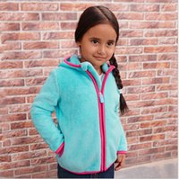 Atacado Girls Childrens Outwear Autumn Winter Hooded Zipper Casacos Vestuário Polar Fleece Kids Clothes Tops Hoodies Sweatshirts Vestuário
