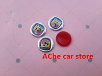 Wholesale Abarth Badge - badge embroidered 5PCS Free shipping 14mm Abarth car key fob logo emblem sticker Auto key Shell badge Auto accessories