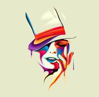 abstraktes gesicht malerei leinwand großhandel-Gerahmte Frau, die abstraktes Mehrfarbengesicht ultra schmilzt, echtes reines handgemaltes weibliches Porträt-Ölgemälde auf Segeltuch, verfügbare Größen des Mulit