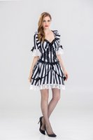 Vampiro Zombie Dress Víspera de Todos los Santos Sexy Español Ghost Cosplay Vestido Negro Blanco Stripes Fancy Gothic Costume