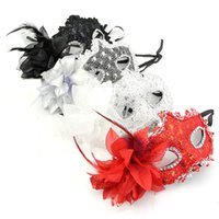 Wholesale Masquerade Accessories - Wholesale-Black   White   Silver   Red Lace Feather Flower Plastic Mask Italy Venetian Masquerade Party Halloween Free Shipping
