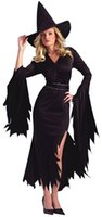 Wholesale Evil Beauty - Women's Black Gothic Witch Black Evil Sorceress Witch Cosplay Dress Clubwear Adult Halloween Masquerade Party Costume Hot