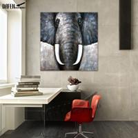 ölgemälde tiere abstrakt großhandel-Dekorative Kunst 100% handgemachte Tier Ölgemälde Leinwand Wand Gemälde abstrakte bunte Elefanten Bild Wohnzimmer