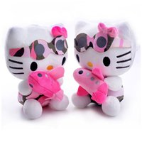 Wholesale Planes Plush - Plush Dolls Hello Kitty Camouflage Hold the Cartoon Plane Cat Sucker Kids for Girls Gifts Dolls Toy 7'' Brand New