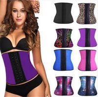 Wholesale Wholesale Latex Body Shapers - 10pcs 11 colors Steel Bone Latex Rubber Body Shapers Waist Trainer Training Corsets Latex Corset Sexy Cincher Slim Ladies Shapers D622