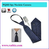 Wholesale Spy Necktie Camera - 16GB memory built-in Body Worn Hidden Cameras Mini Spy tie Camera Video USB DVR Recording Hidden SpyCam NEW Necktie Hidden Camera PQ103