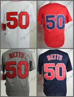 Boston Jerseys 50 Mookie Betts Jersey weiß rot grau Cool Base Shirt genäht authentische Baseball Jersey billig