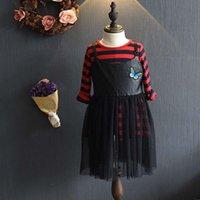 Wholesale Korean Style Striped Shirt - New Autumn Korean Children Girl Fashion lace Pu leather suspender skirt Dresses stripe T shirt Dress Suits Girls Outfits Set Lovekiss C29467