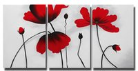 Wholesale Framed Flower Pictures - Lotus Flower Canvas Painting Wall Decor 3 Panel Red Flower Oil Painting Modern Home Decoration Ready to Hang 40x60CMx3pcs