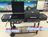 Charcoal  Grills oven electronic ignition - New design BBQ grill double gas charcoal BBQ grill gas oven charcoal oven multifunction BBQ grill outdoor charcoal BBQ grill