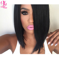 12 blonde hair services - Hot Sale Hairstyle Brazilian Human Hair Bob Lace Front Wig Hair Silky Straight synthetic lace front wig Short Black Hair Best Service