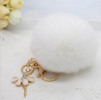 Wholesale Cheapest Gold Rings - The cheapest quality real rabbit fur ball plush key chain for car key ring Bag Pendant car keychain Good quality 22 colors