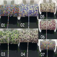 Wholesale Rhinestone Chain Cups - 10yards SS10 2.6mm colorized rhinestone + clear ab mix Crystal glass Rhinestone chain Compact Silver chain for phone, cup, mouse