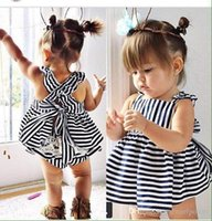 Wholesale Double Breast Girl Dress - 2015 New style Striped Vest Dress Sets Lace Pattern Bowknot Top+Pants Baby Girls Clothes Children's Costumes Princess Dresses Free Ship