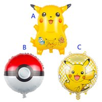 Wholesale pikachu party - Poke go Pikachu Balloons 3 style children Pikachu Poke Ball Charmander Jeni turtle Birthday Party Balloons Halloween Balloon B001
