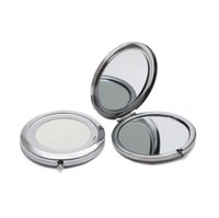 Wholesale Portable T - Compact Mirror DIY Portable Metal Cosmetic Mirror 2X Magnifying Silver Color 5PCS Lo t#M070KS FREE SHIPPING
