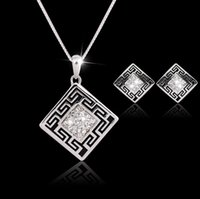 Wholesale Asian Black Painting - New Fashion Austrian Crystal Jewelry Sets With Rhinestone Necklace And Earrings Black Oil Painting Pattern Crystal Jewellery Set For Woman