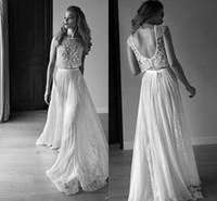 robes de mariée en deux pièces achat en gros de-2019 Robes de Mariée Deux Pièces Chérie Sans Manche Perles Dos Nu Perles Paillettes Dentelle Mousseline De Soie Plage Boho Robes De Mariée Bohème