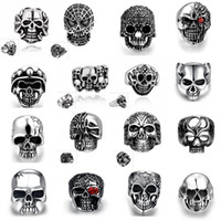 Wholesale Celebrity Style Jewelry Wholesale - Retro Men's Top quality 316L Stainless Steel Vintage Skull Rings Pop Punk Biker Style Unique Celebrity Hip Hop Jewelry Halloween gift Mix