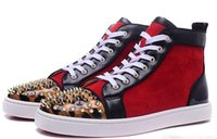 Wholesale Spike S - New 2017 wholesale New mens gloden spikes leopard toe with red suede red bottom high top sneakers,designer brand top quality flat causal s