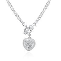 925 silberner schlüsselhalskettensatz großhandel-925 Sterling Silber Anhänger Halskette Romantisches Silber Überzogene Schmucksachen für Frauen Ich stellte die Schlüsselherz-Geformten Charme-Halsketten-Kristallschmucksachen ein