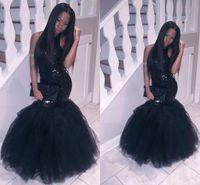 modern maxi gece elbisesi toptan satış-Zarif Mermaid Afrika Kız Giyim Abiye Tule Sequins Malzeme Uzun Balo Elbise Kolsuz Maxi Custom Made Abiye giyim