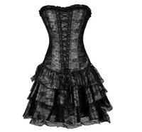 Wholesale Lace Up Waist Cinchers - Hot sale Shapers 4 colors Lace evening Sexy Women Corset and bustier Plus Size Push up Sexy Gothic corset dress with skirt