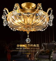 Wholesale French Style Lamps - European style all copper led ceiling dome light crystal lamp French round bedroom lamp.1 2
