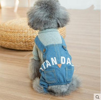 Wholesale Denim Thanksgiving Shirt - Personalized dog clothes Teddy small dog Bichon puppy poodle puppies Cute fashion denim overalls autumn and winter dog Apparel