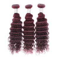 Wholesale Wholesale Hair Extension Online - Remy Human Hair Weave Deep Wave Peruvian Virgin Hair Bundles #99J Red Knots Free 3pcs Lot Hair Extension Online Queenlike 9A Diamond Grade