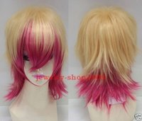 Wholesale Cosplay Uta Princes Sama - Free Shipping New High prom Quality Fashion Picture full lace wigs>>New wig Cosplay Uta no Prince Sama Short Blonde & Pink Red Wig